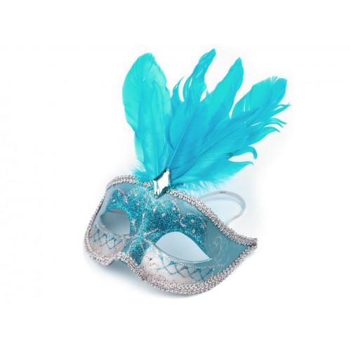Škraboška  s perím modrá