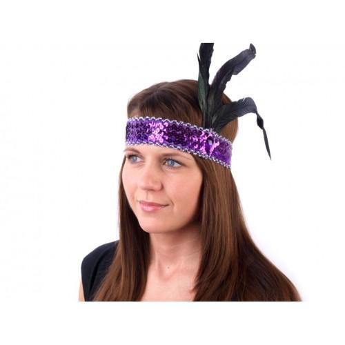 Karnevalová maska - čelenka flitrová s perím