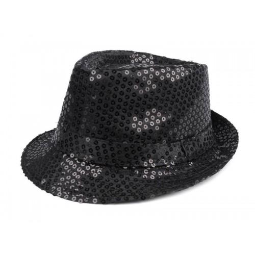 Karnevalový klobúk s flitrami čierny