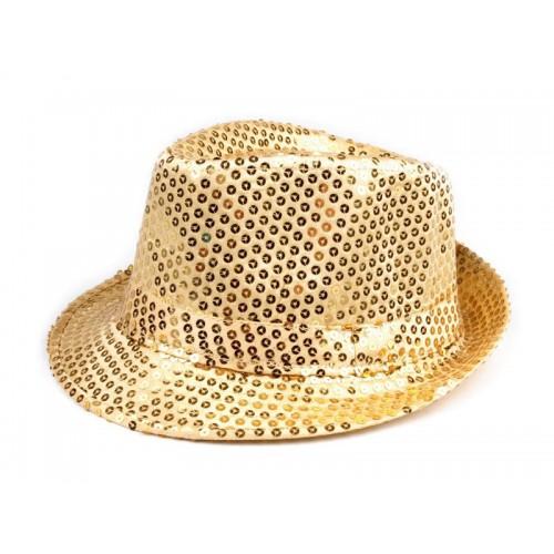 Karnevalový klobúk s flitrami zlatý