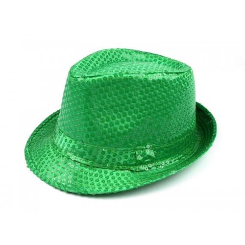 Karnevalový klobúk s flitrami zelený