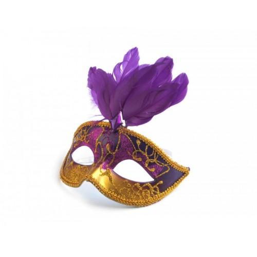 Škraboška s perím fialová