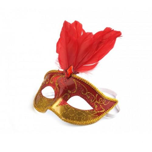 Škraboška s perím červená